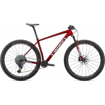 Specialized EPIC HT SW GLOSS RED TINT FADE OVER BRUSHED SILVER/TARMAC BLACK/WHITE w/ GOLD PEARL (2021)