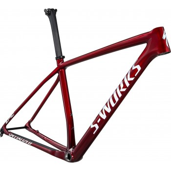 Specialized EPIC HT SW FRM GLOSS RED TINT FADE OVER BRUSHED SILVER/TARMAC BLACK/WHITE w/ GOLD PEARL (2021)