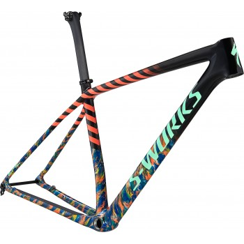 Specialized EPIC HT SW FRM GLOSS CARBON/COBALT MARBLE/BRASSY YELLOW MARBLE/VIVID CORAL/OASIS (2021)